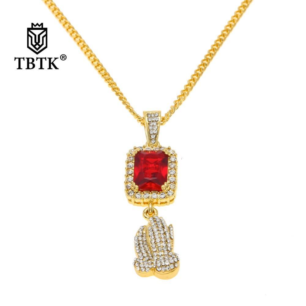 Pendente TBTK Gem che prega le mani rosse e la piazza pavimentata bling cristallina strass gioielli vuota bella collana pendente