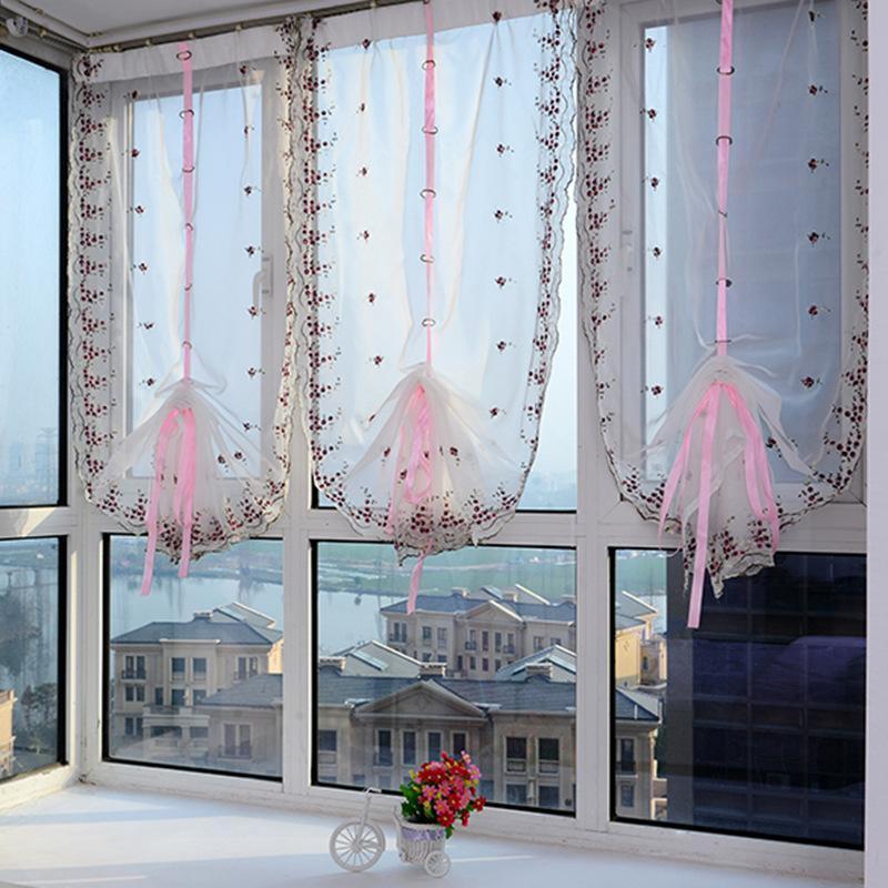 2020 الستائر الرومانية أعلى شير مطبخ الأرجواني الستائر النافذة الوردي رافعات الستائر الرومانية المطرزة 1PC