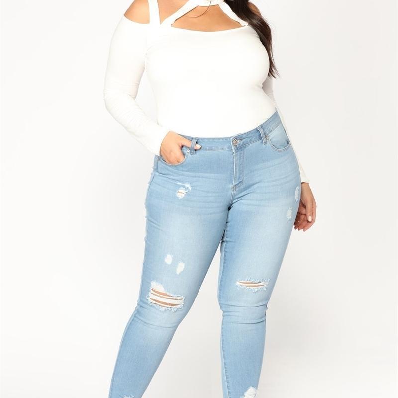 2021 Le nuovissime jeans matita Donne Fashion High Waist Hollow Out Denim NY Pants Plus Size 2XL-7XL Tutti i pantaloni corrispondenti