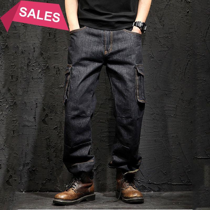 Idopy Multi-Pocket Cargo мужские джинсы свободные прямые большой размер 29-46 Военная армия джинсовые брюки брюки