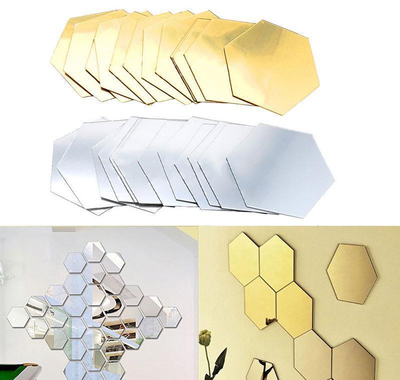 3D esagono acrilico mirror wall stickers fai da te arte della parete di arte Adesivi per la decorazione della casa Decorazioni per la casa Soggiorno Adesivo decorativo specchiato Bbisd XMH_Home