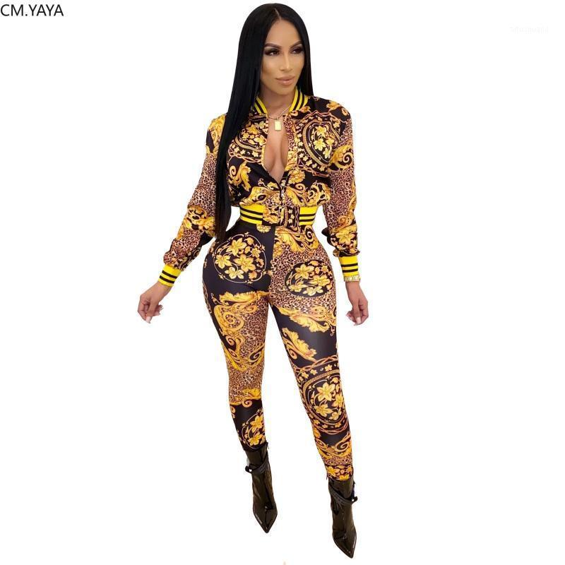 Winter Women Set Full Manches National Print TrackSuit Vestes Top Pantalon Suit Two Piece Set Night Club Sports Outfits Sports GLD92021
