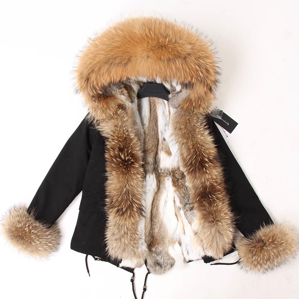 MAOMAOKONG Kadınlar Kısa Parka Kış Uzun Ceket Parkas Gerçek Kürk Doğal Tilki Kürk Hood Gerçek Tavşan Kürk Liner Giyim 201103