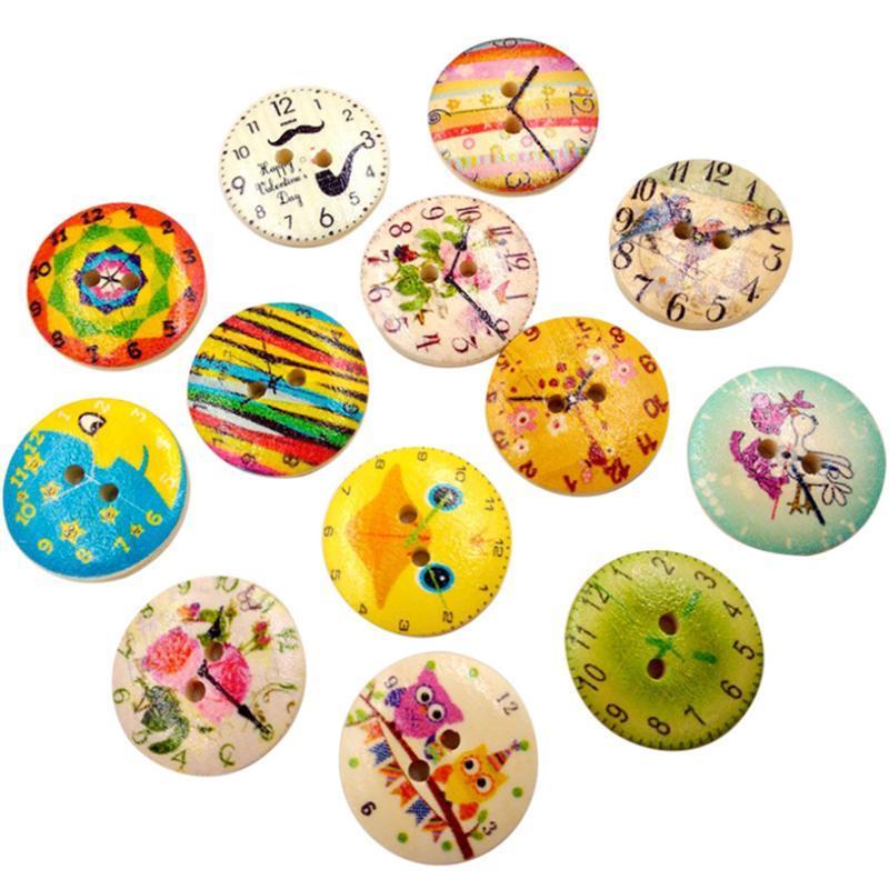 Nozioni vintage orologio in legno Accessori per cucire Buttons 2 fori Artigianato scrapbooking per borse per vestiti