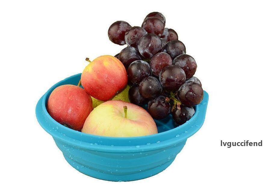 Portátil Silicone Almoço Caixas Colapsible Eco-Amigável FDA Silicone Tigelas Portátil Circular Vermelho Azul Plástico Aluno Almoço Box Criança Bacia