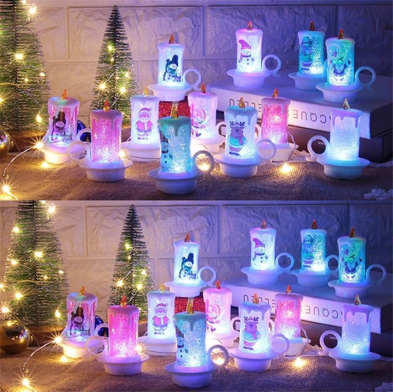 Decorazione natalizia Nightlight Xmas Candela Lampada a LED Candela elettronica Santa Claus Snowman Lampada da tavola di Natale Decorazione OWA2507