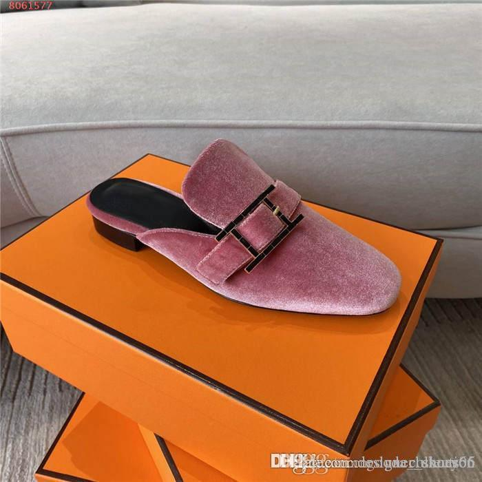 The latest half slippers, womens flat bottom velvet leather slippers, autumn and winter slippers Original packaging