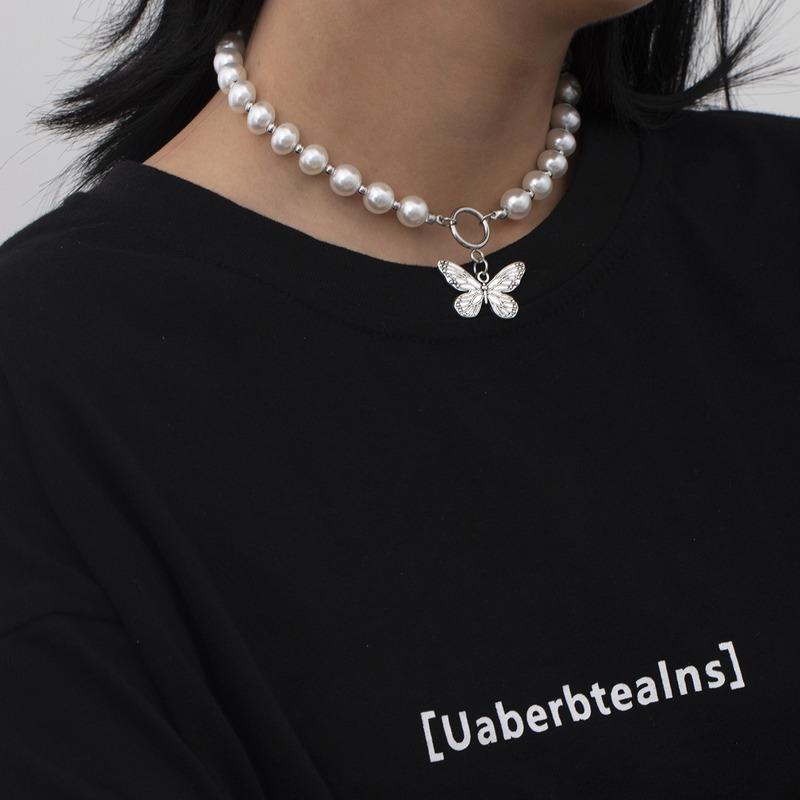 Pendentif Colliers Perle Perle Chaîne Collier Papillon Pour Femmes Mode Court Colar Colar Bijouterie Party Cadeau