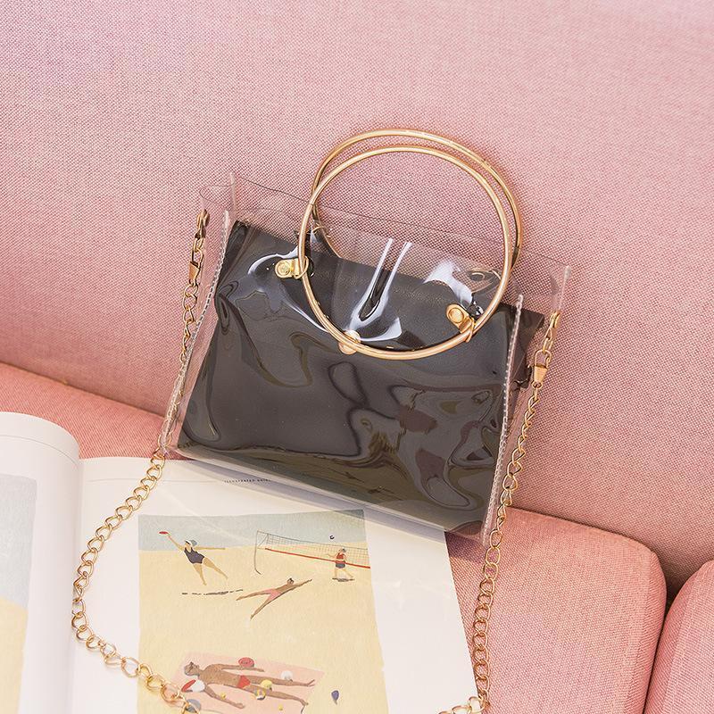 2020 Design Sac à main de luxe Femmes Sac de godet transparent Clear PVC Jelly Petite épaule Sac à bandoulière Femme Chaîne Bandoulière Sacs Messenger