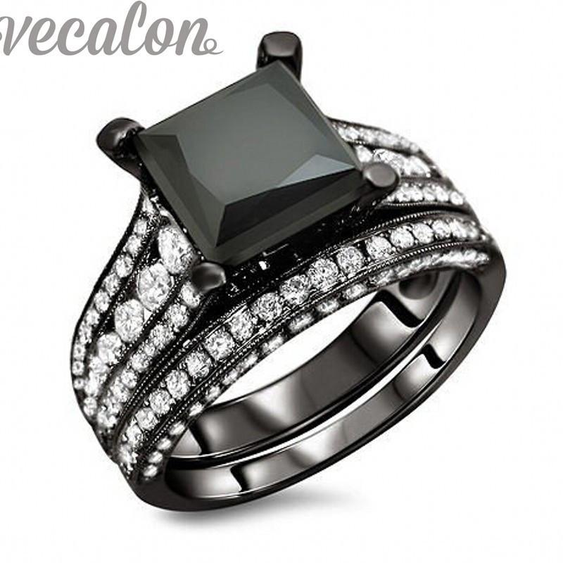 Vecalon na moda anel de banda de casamento conjunto para mulheres 4ct preto cz anel diamante 10kt blimulentado diamante cz 10kt preto ouro cheia festa festa anel