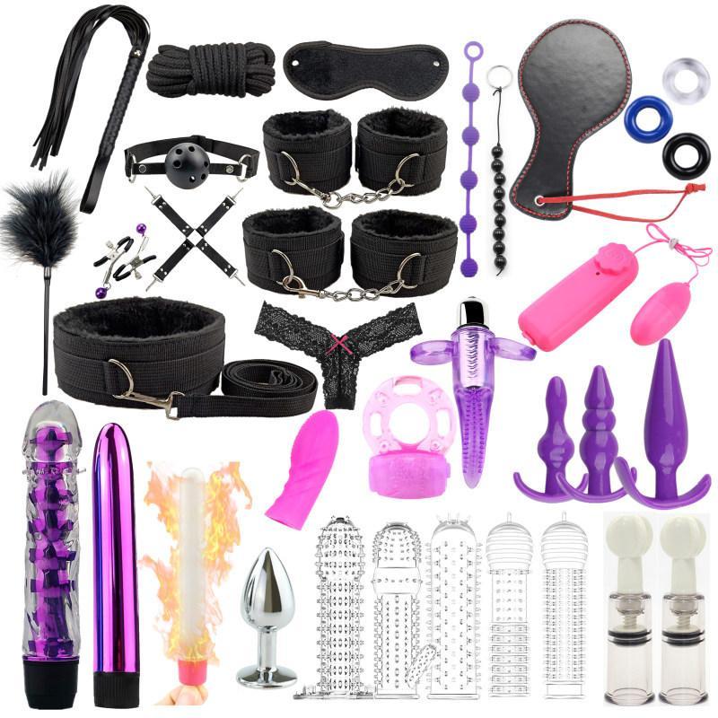Секс Продукты Эротические игрушки для взрослых BDSM Секс-рабство набор наручников для наручников Дилдо Вибратор анальный штекер кнут секс игрушки для пар Y210330
