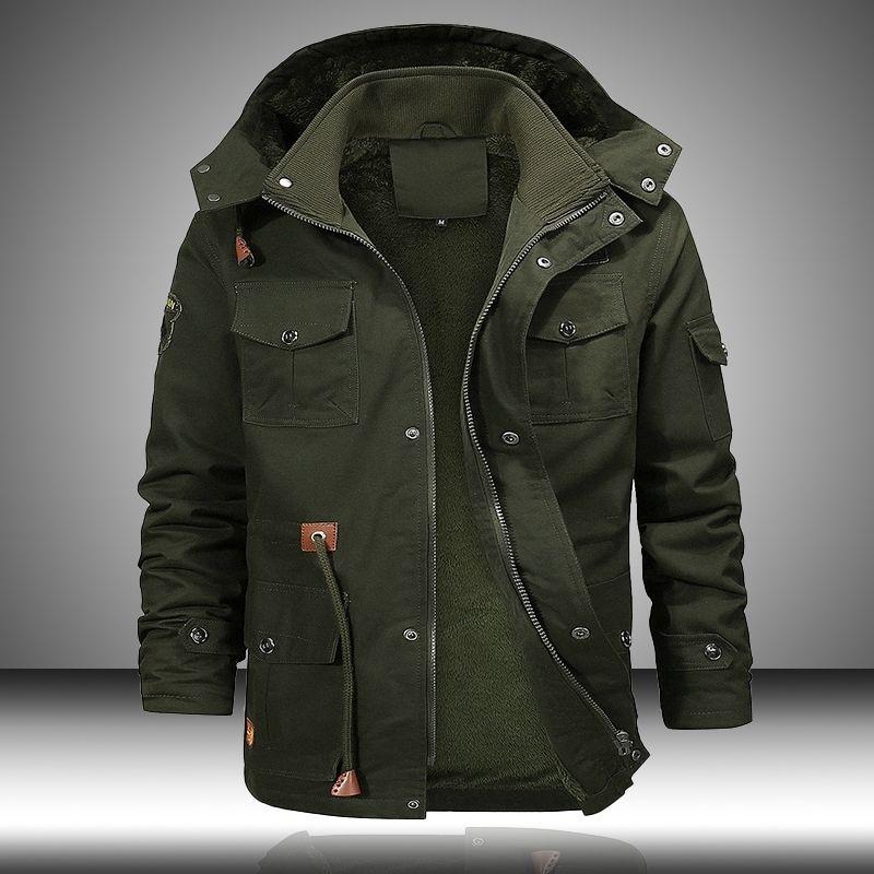 Военный бомбардировщик грузовая куртка мужчины многокарманские зимние теплые пальто с капюшоном флисовые толстые мужские куртки тактическое пальто мужской 5xL 201226