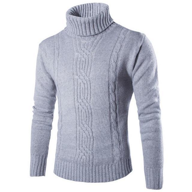 2020 Mâle Pull Pullover Slim Chaud Solide Solide High revêtement Jacquard Vêtements Homme British Homme Vêtements pour hommes Terrtleneck
