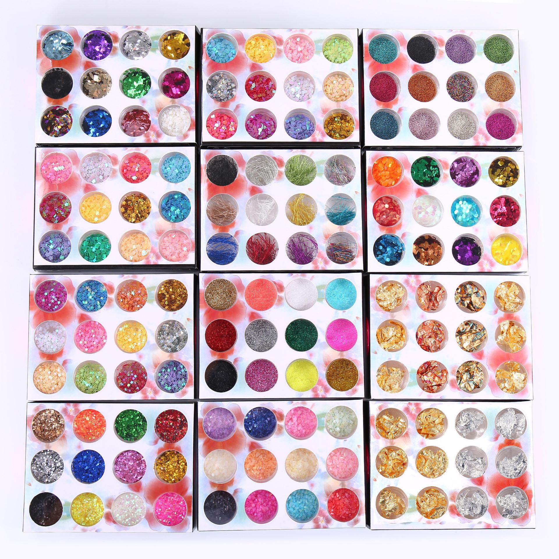 1 مربع غير النظامية قذيفة ورقة diy مسمار رقائق الملونة pacilettes مسمار الفن الترتر بريق رقائق pvc مانيكير السيلوفان