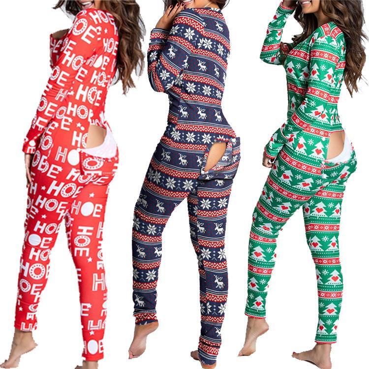 Европа и Америка 2020 Новые Женщины Мода Осень и Зимняя Кнопка Flip Взрослые Пижамы Напечатаны Рождественский Длинный Рукав Домашняя одежда Комбинезон