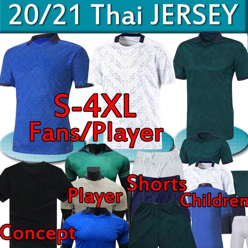 2020 ITA Futebol Jersey Lys Ventiladores Versão Jogador 20 21 Zaniolo Insigne Bonucci Imóvel Totti Homens Kits Kits Mulheres Futebol Camisas Calças