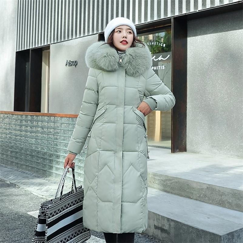 Новые моды дамы х-длинные тонкий меховой воротник пальто зимняя куртка женщин элегантный твердый с капюшоном с капюшоном парку самки женщины 201208