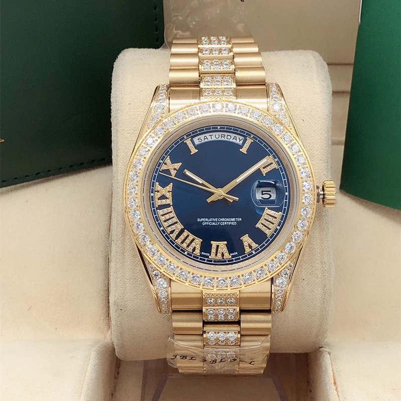 Самое лучшее качество мужская неделя календарь 41 мм средняя строка полоса среднего ряда оболочка римская алмазная сапфир автоматическая мода мужские водонепроницаемые часы