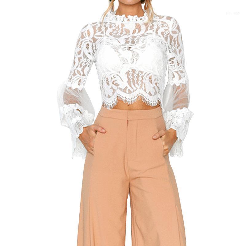 Camicette da donna Camicie 2021 Moda stile Molla Molla Camicia in chiffon da donna Thin Round Tromba Sleeve Stitching Stitching Hollow Top1