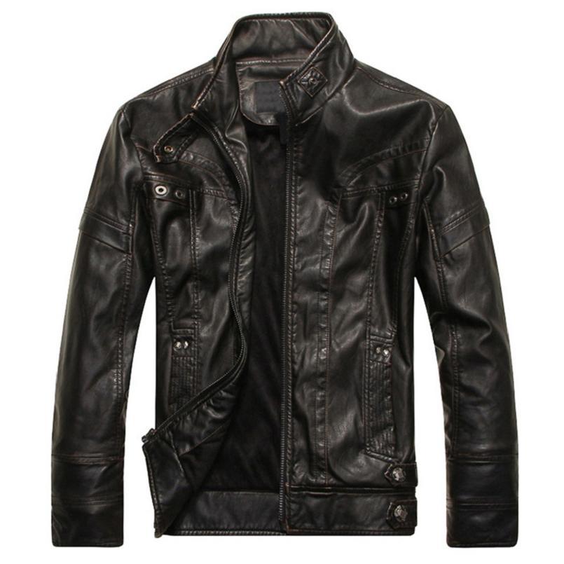 Vestes de mode Hommes Haute Qualité Moto PU Veste Casual Cuir Manteaux Hommes Cowboy Vêtements Plus Taille 5XL My025