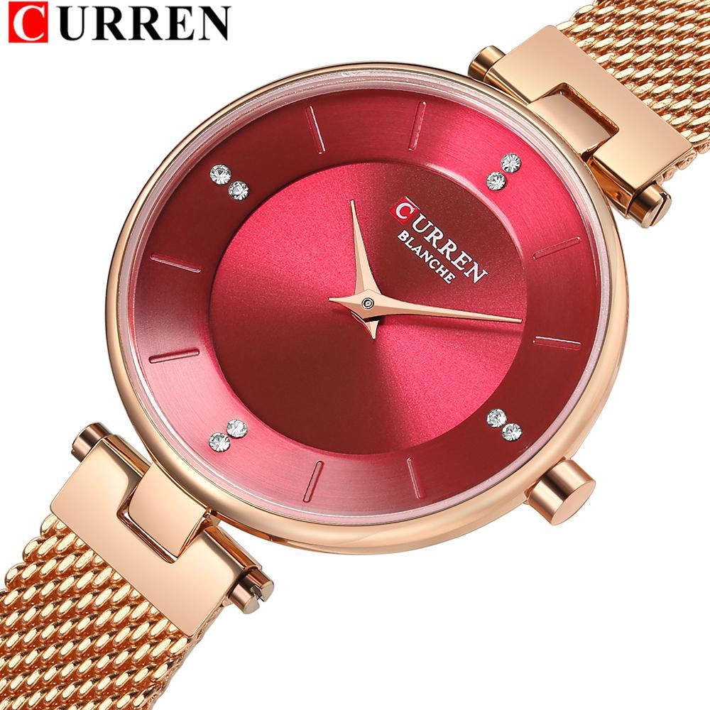 Relógio de malha de aço inoxidável de moda quente para mulheres relogio feminino curren senhoras quartzo pulseira relógio romã vermelho Dial J1205