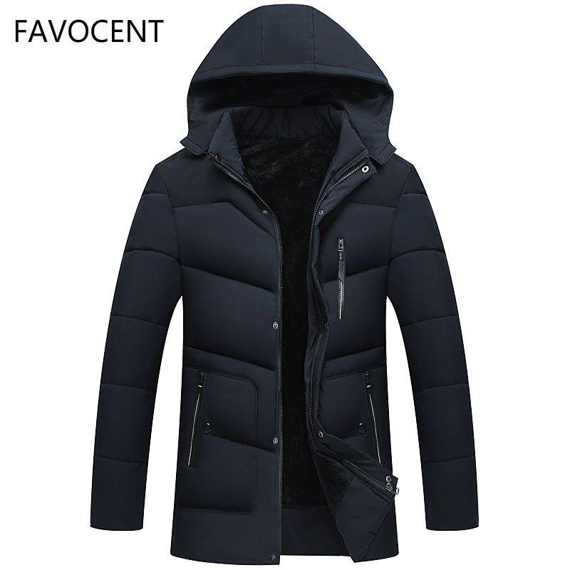 FAVOCENT hombres buenos Calidad de la chaqueta caliente super gruesa para hombre Invierno Parkas capas largas con capucha para los hombres del ocio Parka más el tamaño 5XL 201118