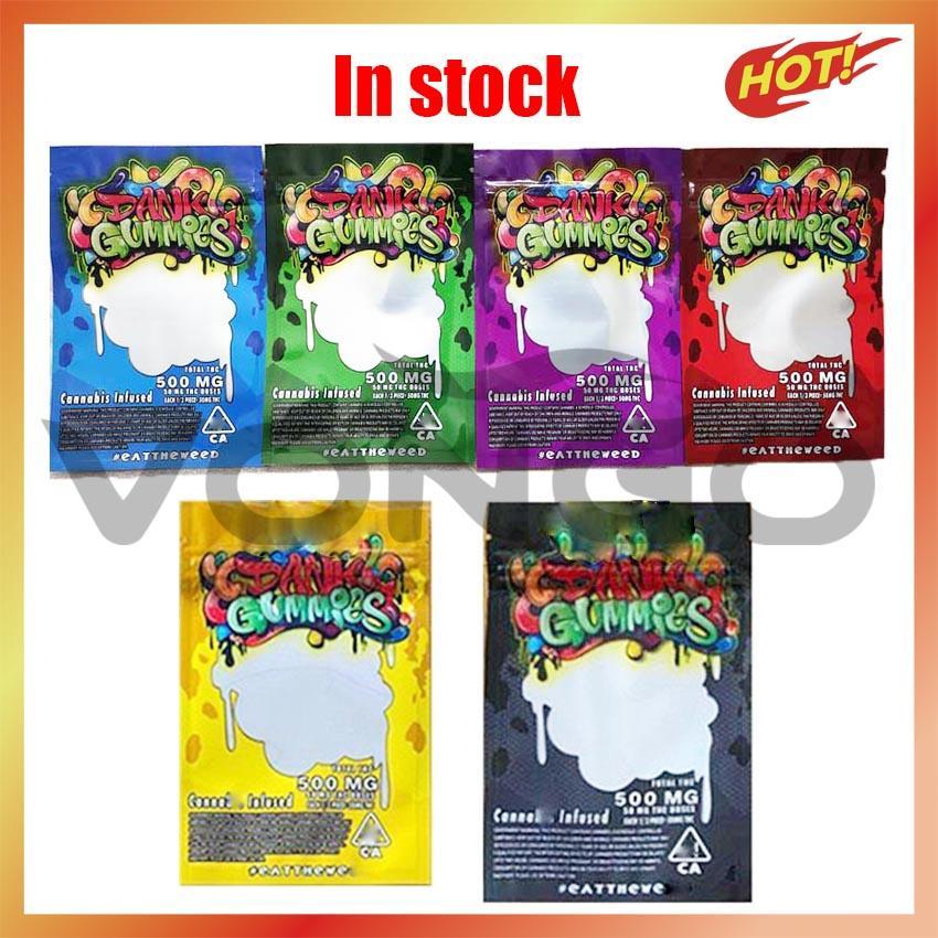 Dernière Dank Gummies 6 Types 500mg Sac Mylar Personnalisé Edibles Emballage Éclairage Échantillon Métial Serrure zippée Gummy for Sec Herbe Tabac Fleur