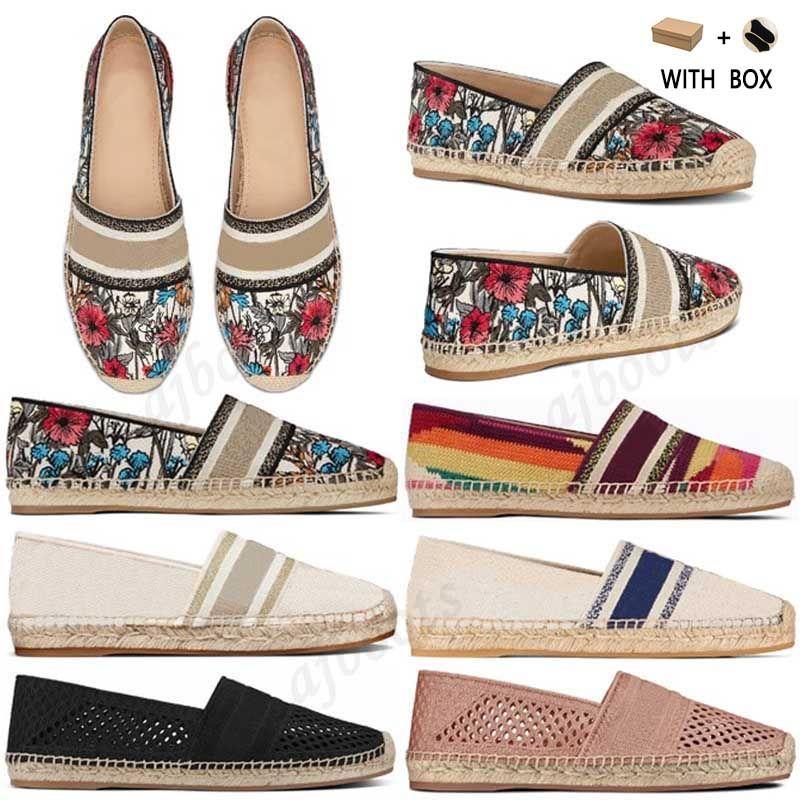 2021 Mujeres de lujo alpargatas de diseño de cuero Slip-on Casual Shoes Summer Patchwork Mujer Plano Granville Espadrille Blanco Corte Blanco Lienzo