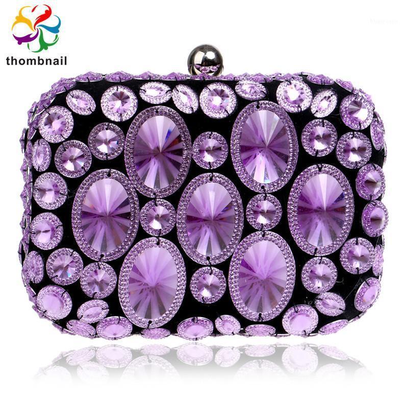 Фиолетовый роскошный кристалл женские вечерние сумки сцепления вечеринка кошелек дамы свадебные свадебные бриллиантные бисером сумка 2020 новый1