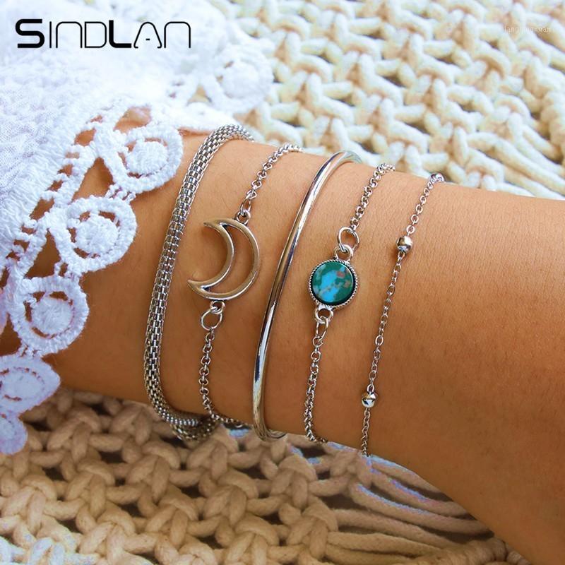 Charm Bracelets Sindlan 5PCs Hollow Moon Blue For Women Bangles Bohemia Set Female Wrist Chain Jewelry1