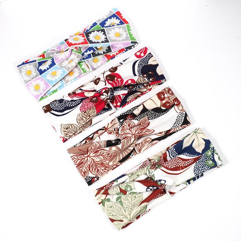 Coreano Multicolor Tie Dye Stampa Tipo di stampa Twist Cross Headband Sport Yoga Turban Fandbands largo Accessori per copricapo Elastico Q Bbyezb