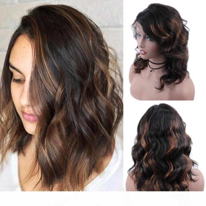 Perucas de renda completa Brazilian Remy Human Hair Body Wave Ombre 1B 30 Lace Frontal Wigs Preenchido Cabelo Do Cabelo Bebê Cabelo Preto Mulheres 150% Densidade