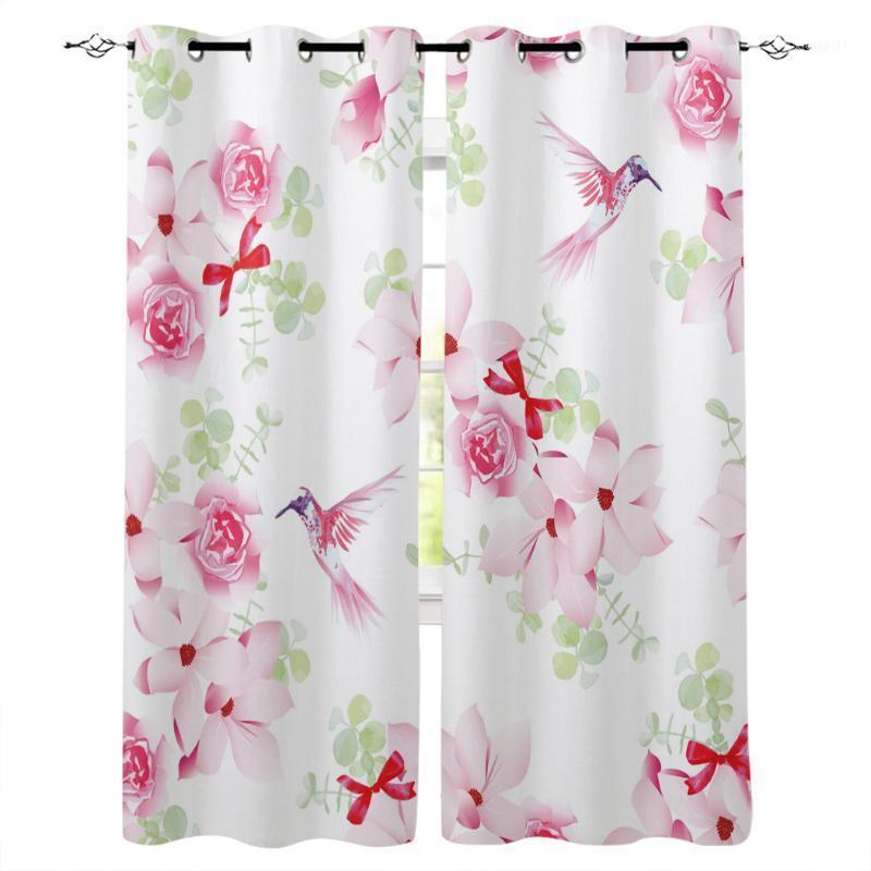 Animal pássaro rosa flores verdes folhas janela cortinas sala de estar meninos meninos crianças quarto crianças cortina janela tratamento