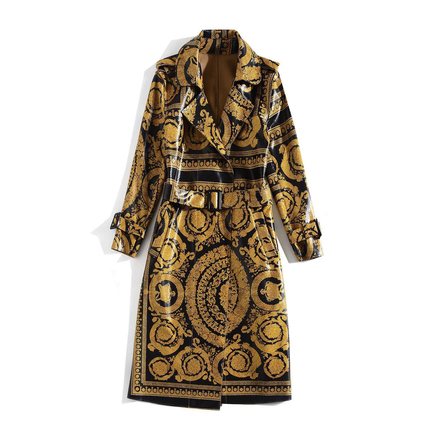 1112 XL 2020 Spedizione gratuita Autunno Cappotto Autunno Khaki Manica Lunga Button Collo Brand Fashion Womens Vestiti JQ