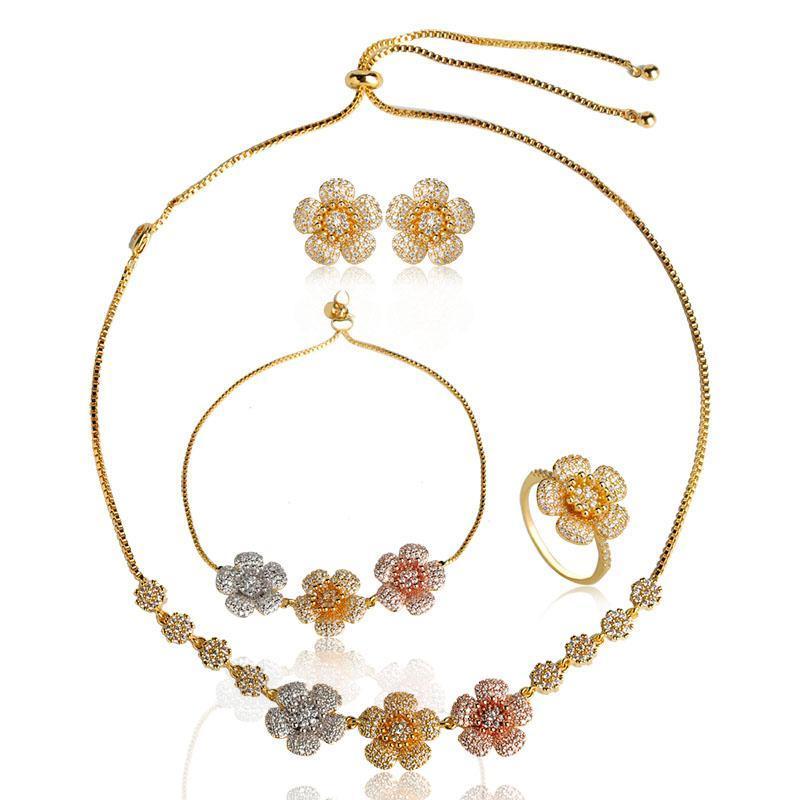 Blucome Luxus Tricolor Blume Halskette Ohrringe Ring Armband Schmuck Set Kupfer Glänzend Zirkon Frauen Bankett Hochzeitszubehör