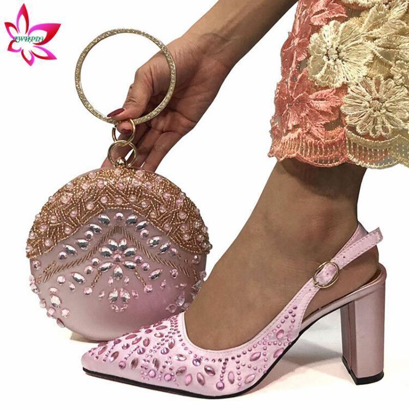 Rosa, shinning hochwertige süße Frauen Schuhe und Tasche, um kursiv afrikanische Dame-Schuhe und Taschenset mit dem Kristall für die Hochzeit einzufügen