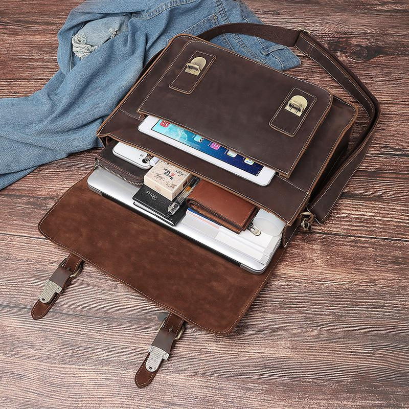 Humberpaul Uomo Briefcase Borsa Crazy Horse Leather Spalla Borse Messenger Borse famose Business Business Office Borsa per laptop da 14 pollici