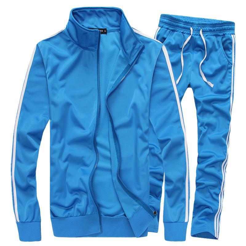 Takım elbise spor sonbahar ve kış yeni düz renk Kore versiyonu ince erkek koşu kıyafetleri