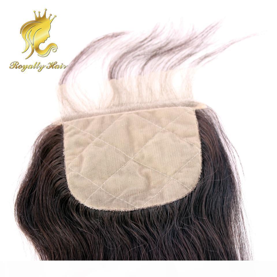 Brezilyalı ipek kapatma 4 * 4 düz ipek taban dantel kapatma ile bebek saç ücretsiz kısmı insan saçı kapatma parçası