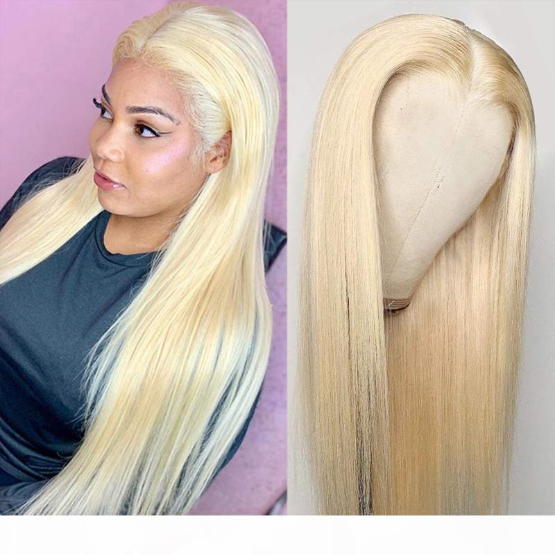 Billig # 613 blonde gerade volle spitze menschliche haarperücken 13x4 spitze frontperücke vorgepuckte natürliche haarlinie mit babyhaare 8 ~ 20inches für frauen