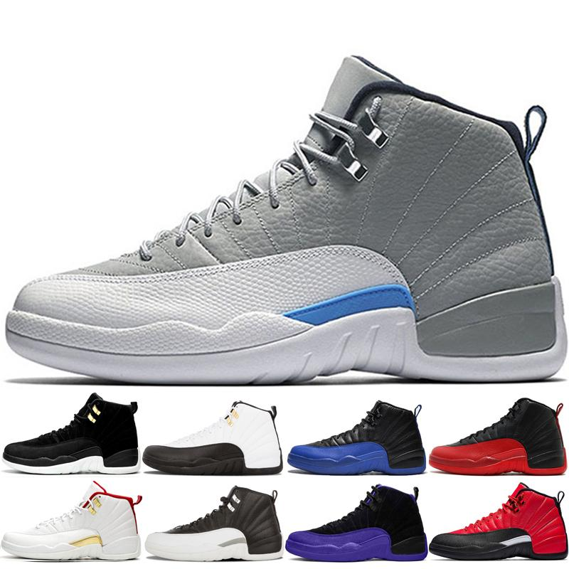 Grigio Mens Wolf 12s Scarpe da basket 12 Chaussures Deep Royal Blue Gym Red Reverse Reverse Taxi O-Nero Il Master Shoed Housed Indoor and Outdoor scarpe