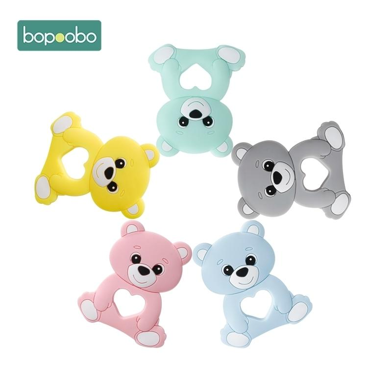 Bopoobo 10PC Silicone Bear Cartoon Bead Stroller Baby Teether Silicone Baby Teether Necklace Bpa Free Food Grade Baby Teether 201123