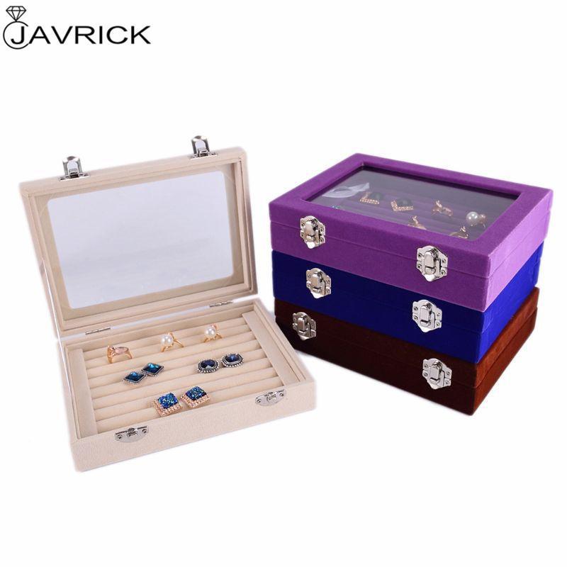7 cor veludo vidro anel brinco jóias exposição organizador caixa de bandeja porta de armazenamento J1202
