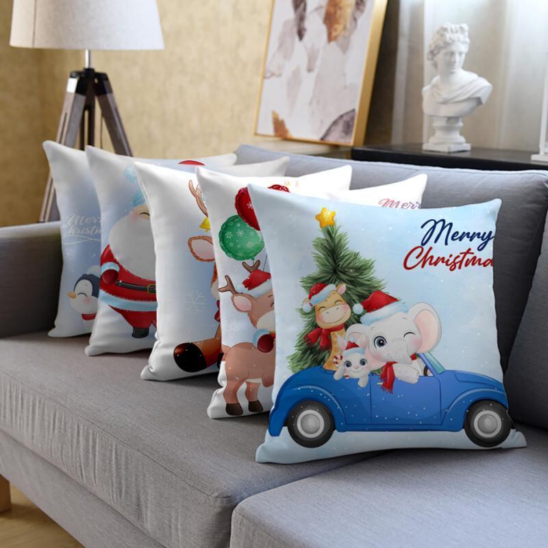 Cojín / almohada decorativa Fuwatacchi Lanzar almohadas Cubierta Cubierta Decoración para el hogar Feliz Navidad Habitación Decorativa Sofá cama Asiento Cojín Cojín Blanco Pil