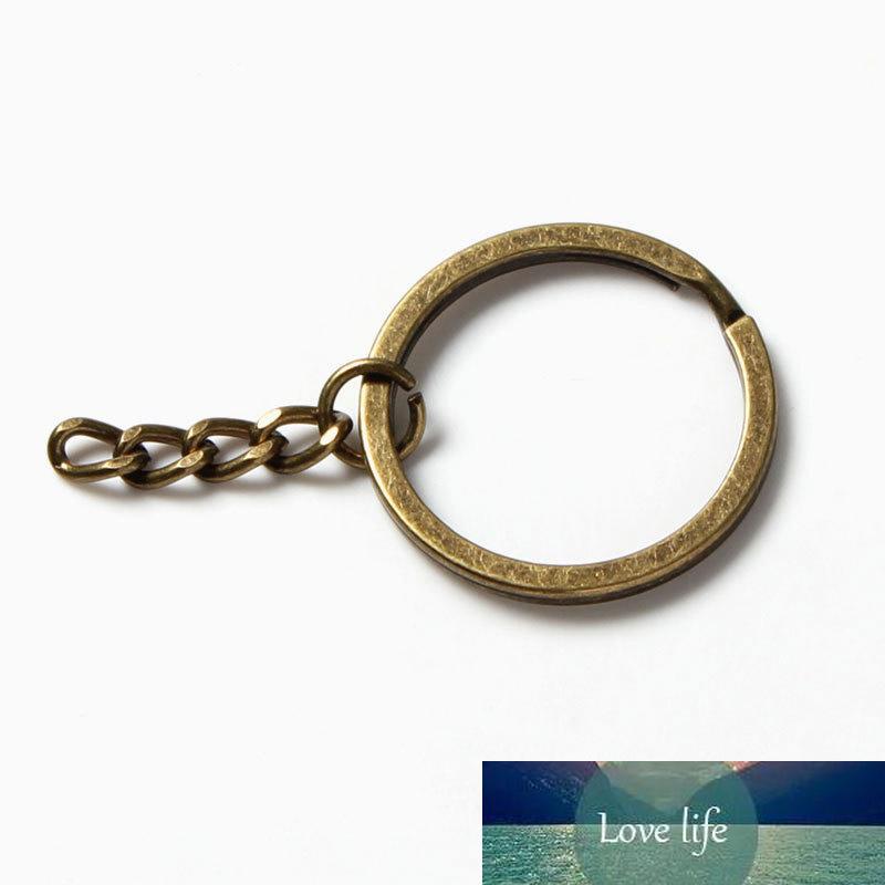 20 unids / lote antiguo bronce 25 mm 30 mm llavero llavero anillo color plata redondo llaveros llaveros llavero para bolsos hallazgos de joyería