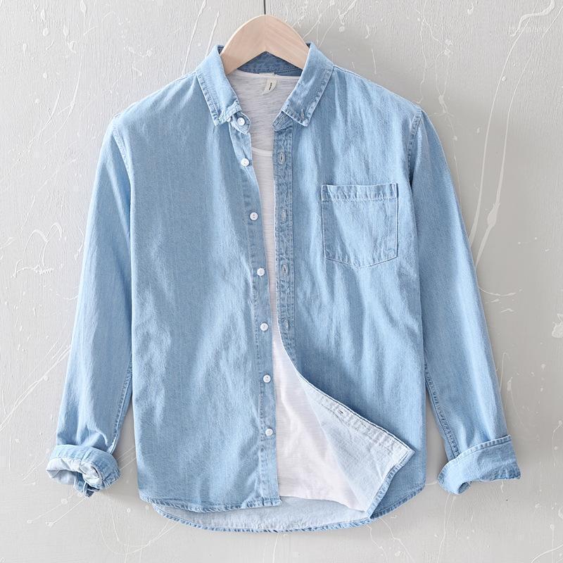 2020 новый мужской сплошной цвет мужской повседневной джинсовой рубашки с длинным рукавом молодежь хлопок удобная осенняя праздничная рубашка1
