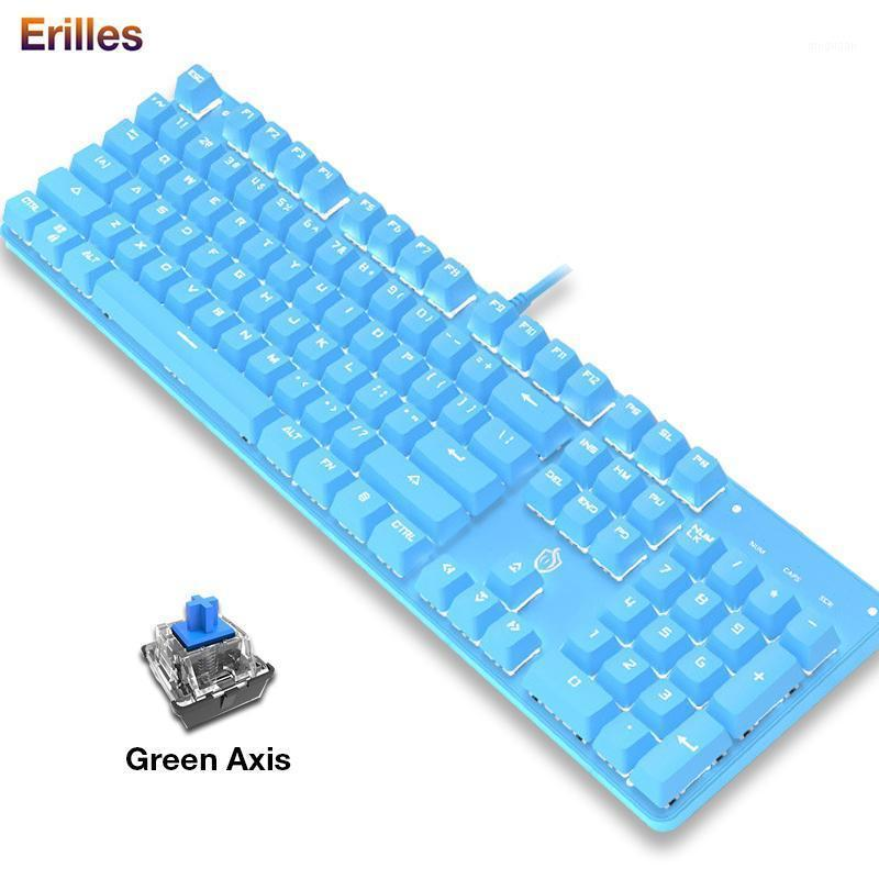 Teclado mecânico USB conectado 104 teclas LED teclados para PC laptop gaming teclados estilo punk menina rosa azul teclado desktop1