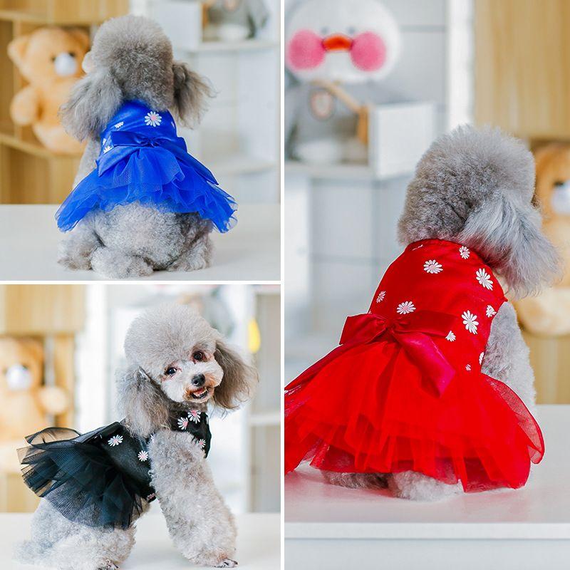 3 Colors Bow Knot Dog Princess Dress Fashion Teddy Puppy Schnauzer TUTU Dresses Spring Summer Dog Apparel
