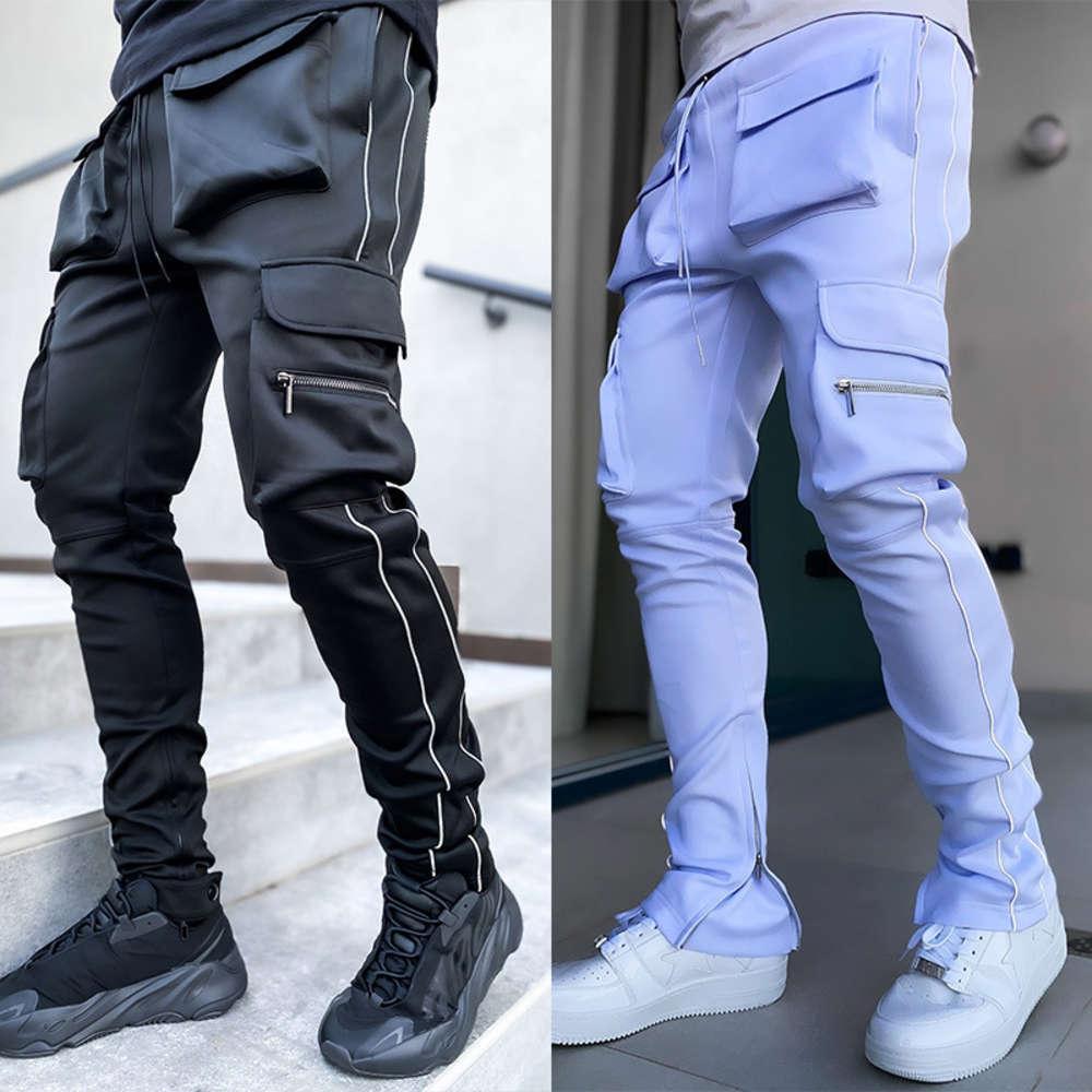 Vêtements de travail de printemps et d'automne Mode masculin de mode élastique Multi sac réfléchissant Tube droite Sports Fitness Pantalon décontracté