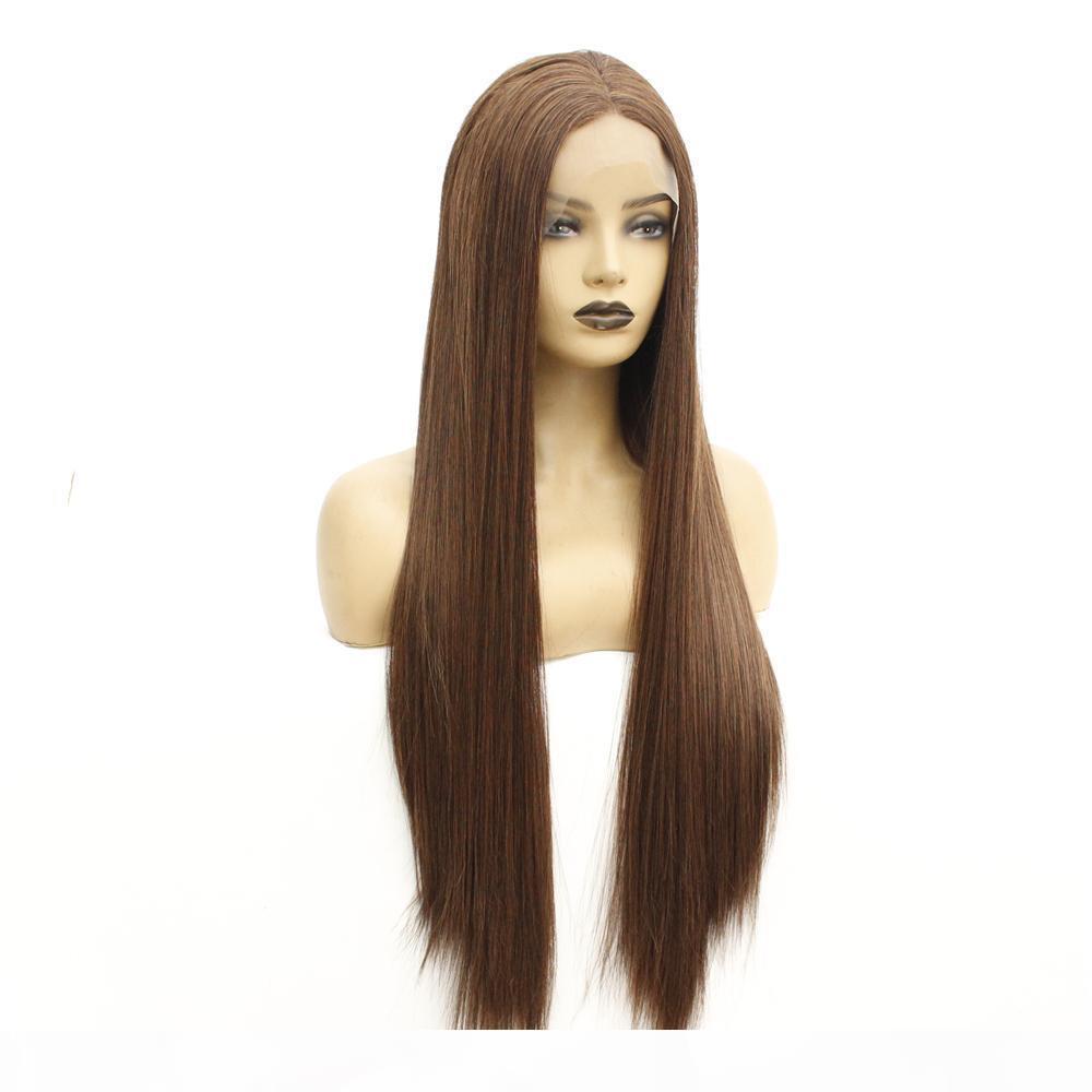 Glueless lungamente serica diritto capelli sintetici pizzo anteriore parrucche per le donne termoresistente Brown parrucche con Linea sottile naturale